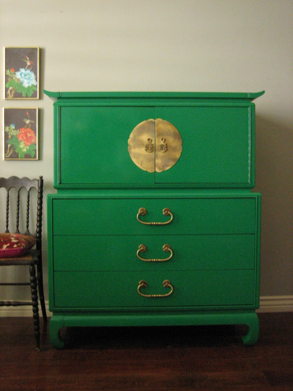 Hollywood Regency Emerald Green Chest