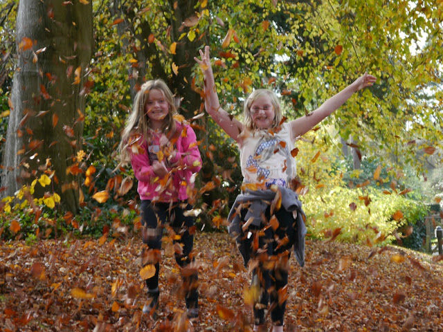 Twin girls jumping in leaves
