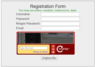 Captcha2cash registration form