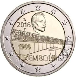 2€ commémorative 2016 Luxembourg : Pont de la Grande Duchesse Charlotte