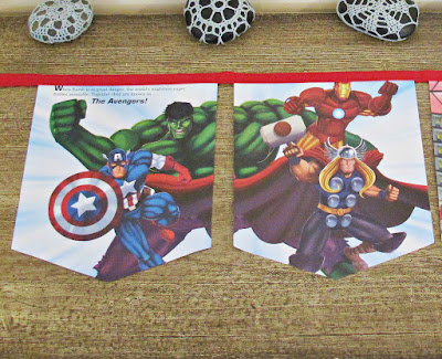 image the mighty avengers bunting domum vindemia etsy handmade captain america the hulk iron man loki marvel upcycled superhero banner garland