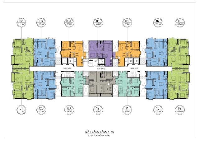 Mặt bằng thiết kế tầng 4-16 ONE 18 Ngọc Lâm