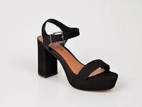 Sandale negre de zi cu toc gros si talpa groasa