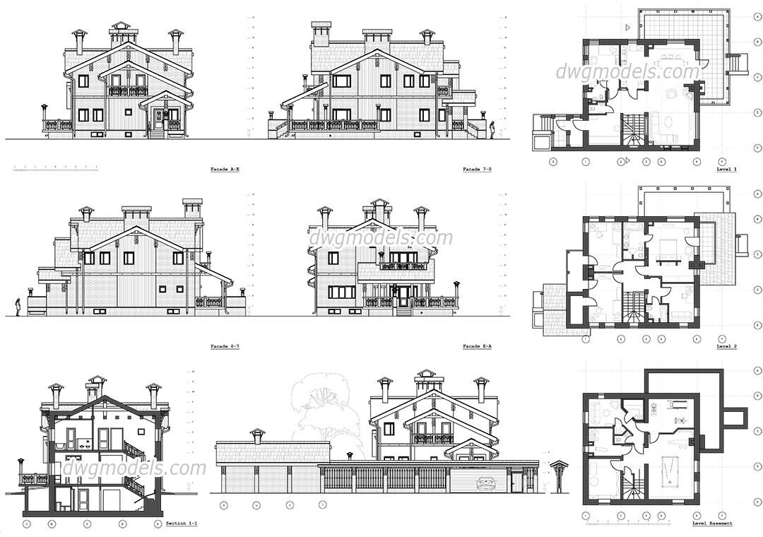 Villa classique fichier dwg