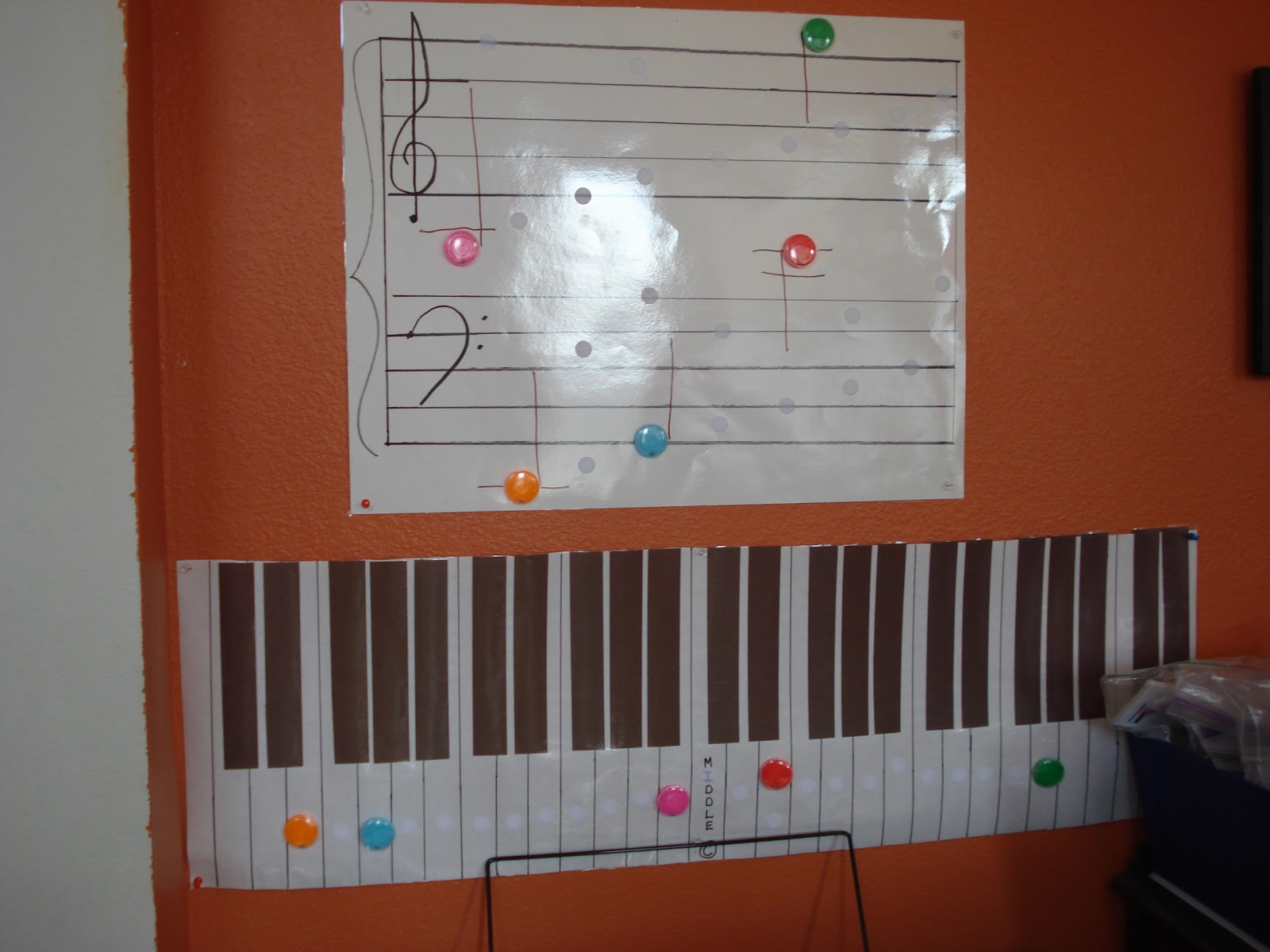 I Put Velcro Dots On Every Line And Space Of One My Laminated Poster Board Size Grand Staffs Tacked It The Wall Above Electronic Keyboard