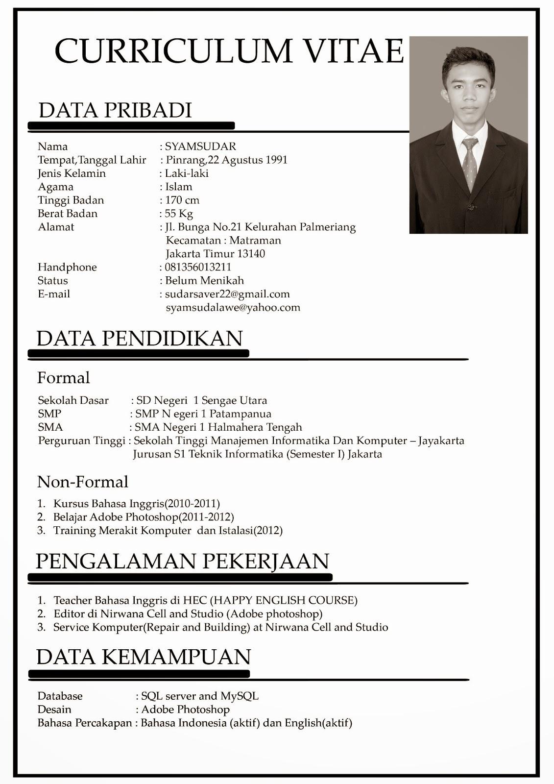 Cv Resume Resume Cv Contoh