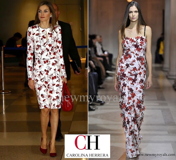 Queen Letizia wore Carolina Herrera Floral Printed Mikado Dress