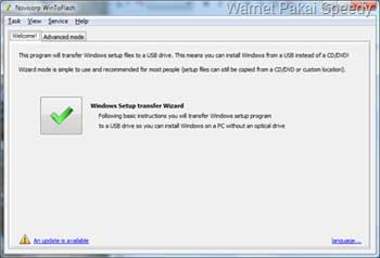 Jalankan Win To Flash - cara install laptop yang tidak ada CDROM