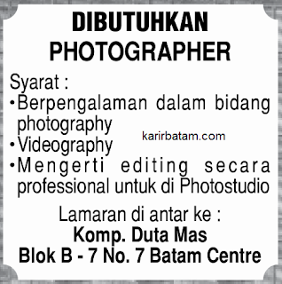 Lowongan Kerja Photographer Duta Mas Batam