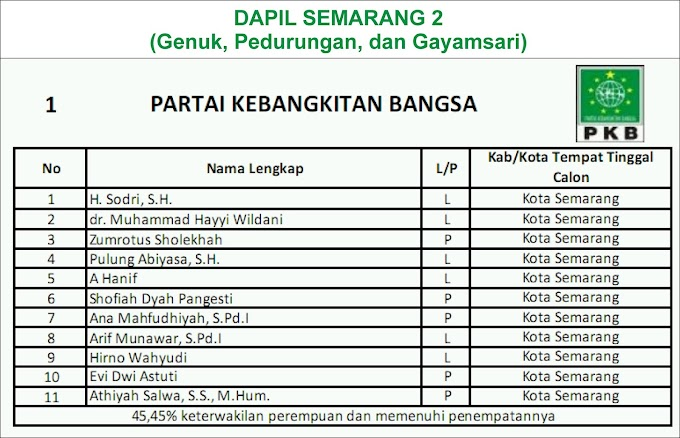 Caleg Dapil 2 DPRD Kota Semarang, PKB Kota Semarang