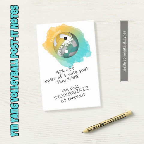 Yin and yang volleyball Post-it notes with custom name
