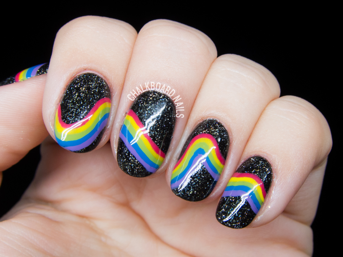 Galactic rainbow nails by @chalkboardnails