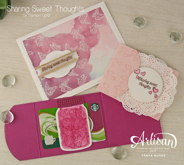 Sharing Sweet Thoughts from Stampin' Up! made some sweet gift card holders and watercolored butterflies! Those strawberries sure look delicious in Berry Burst too. Created by Tanya Boser for the Artisan Design Team blog hop.