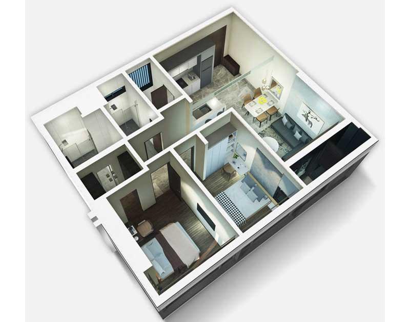 2 Phòng Ngủ loại A có diện tích 78m2