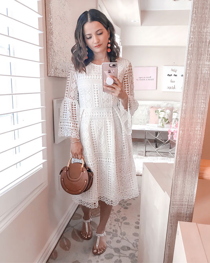 Summer 2018 Cute Summer Dress Blogger Outfit White Guipure Lace Dress Shein Chloe Dupe Pixie Circle Bag