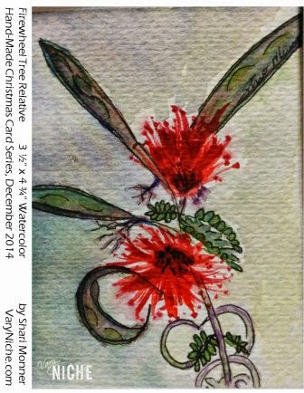 Watercolor Painting of a red flower with many long slender petals by Shari Monner, VaryNiche.com