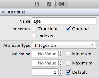 iOS entity attribute data model view