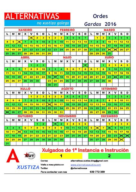 Ordes. Calendario gardas 2016