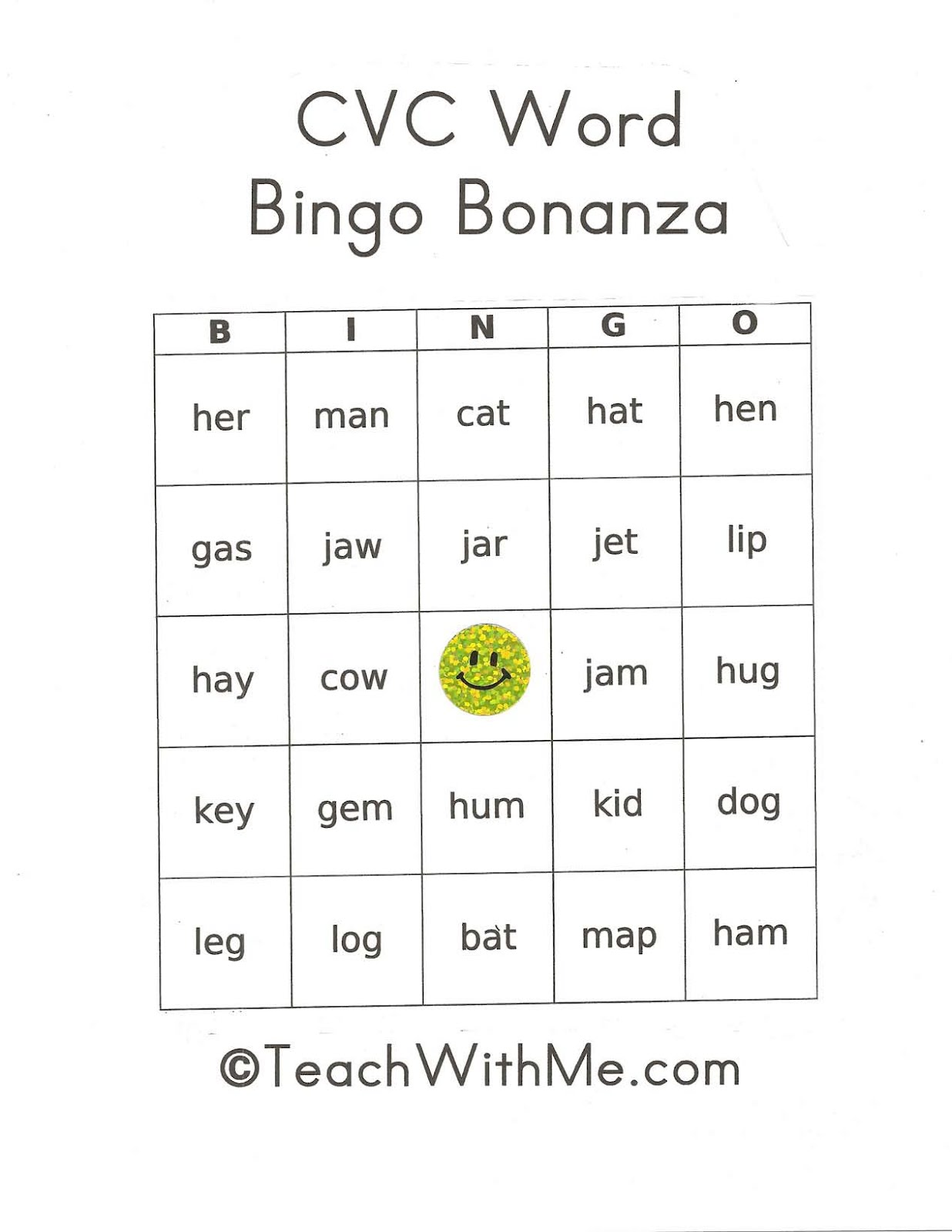 Classroom Freebies Too Pk 2 Cvc Bingo Bonanza