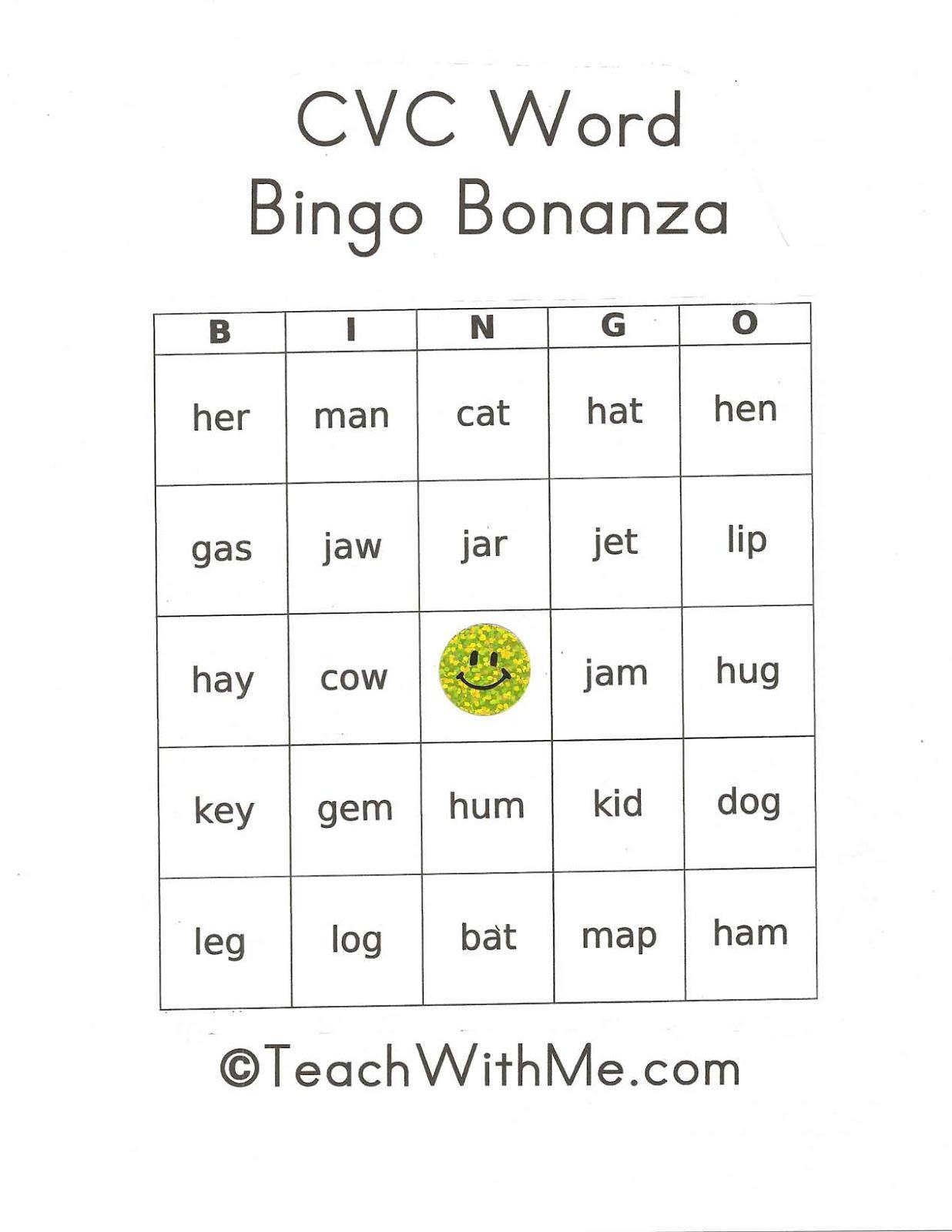 Classroom Freebies Too Pk 2 Cvc Bingo Bonanza