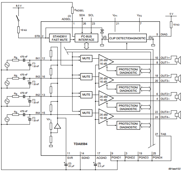 amplifiercircuits.com: tda8594 circuit diagram with labels