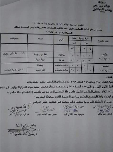 جداول إمتحانات الترم الاول بمحافظة قنا 2019 جميع المراحل (إبتدائى وإعدادى وثانوى)