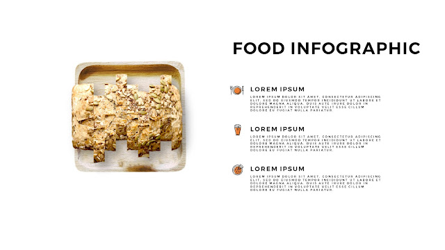Food Infographic Elements for  Powerpoint Template with Sliced Bread and Change of Dish