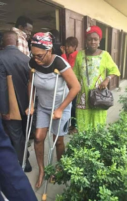 Victim of domestic violence, Ivie Edobor arrived court yesterday on crutches (photos)