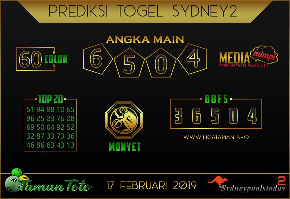 Prediksi Togel SYDNEY 2 TAMAN TOTO 17 FEBRUARI 2019