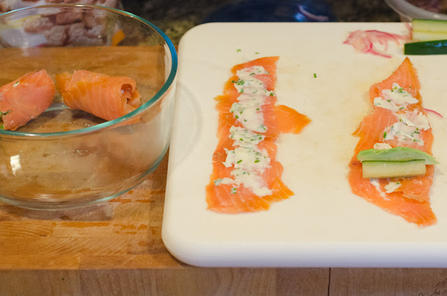 Making the Smoked Salmon Rolls