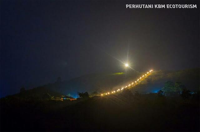 Tangga menuju kawah Gunung Galunggung yang penuh warna. Foto :  Instagram @wisata_galunggung.