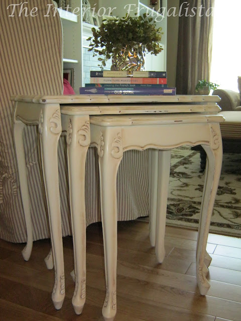 Nesting table makeover with Annie Sloan Chalk Paint™ in Old White.