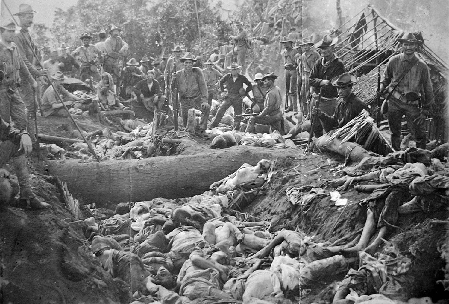 The bodies of Moro insurgents killed by US troops during the Battle of Bud Dajo in the Philippines, March 7, 1906.