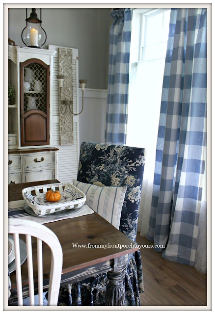 Fall Dining Room-French Country-Blue and White-Buffalo Check-Parson Chair-Waverley Ballad Bouquet-Tobacco basket-From My Front Porch To Yours