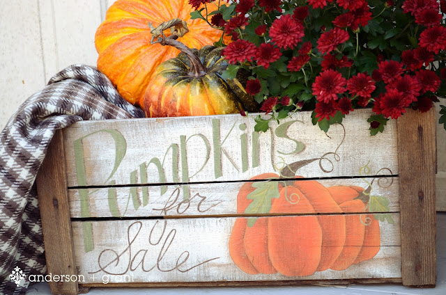 Handpainted pumpkin crate by Anderson + Grant | Mabey She Made It | #pumpkin #crate #autumn #fall #halloween