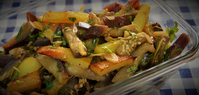 sweet and sour eggplant with fried potatoes