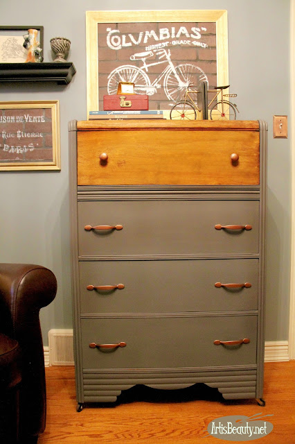 vintage tall waterfall chest of drawers two toned wood and paint makeover general finishes milk paint driftwood diy