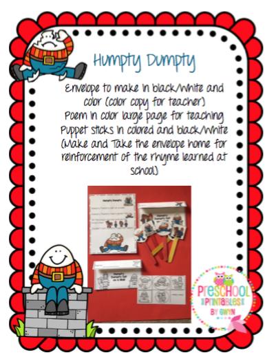 Humpty Dumpty Craft Preschool Printables