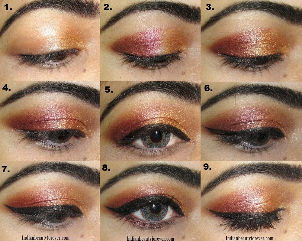 Coppery gold Eye makeup Tutorial steps and ideas