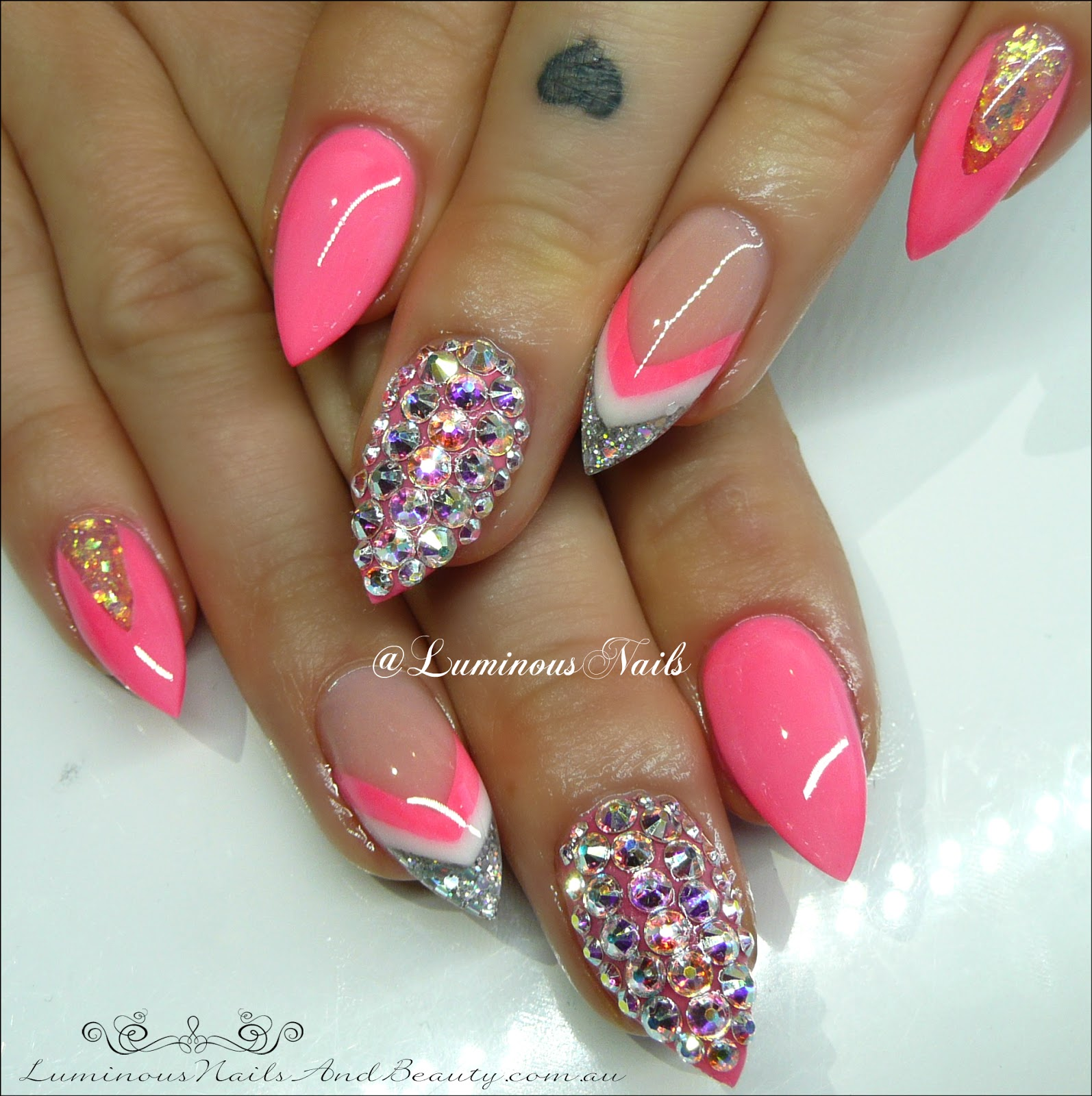 Neon Pink White Silver Acrylic Nails With Swarovski Crystal Feature