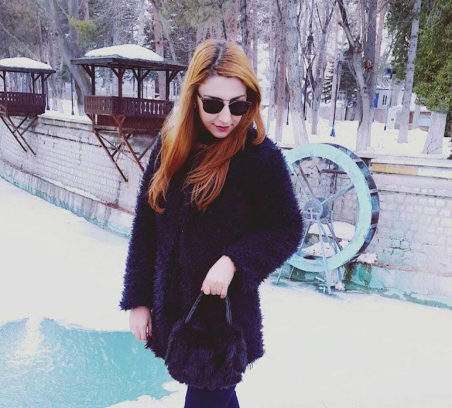 siyah peluş ceket