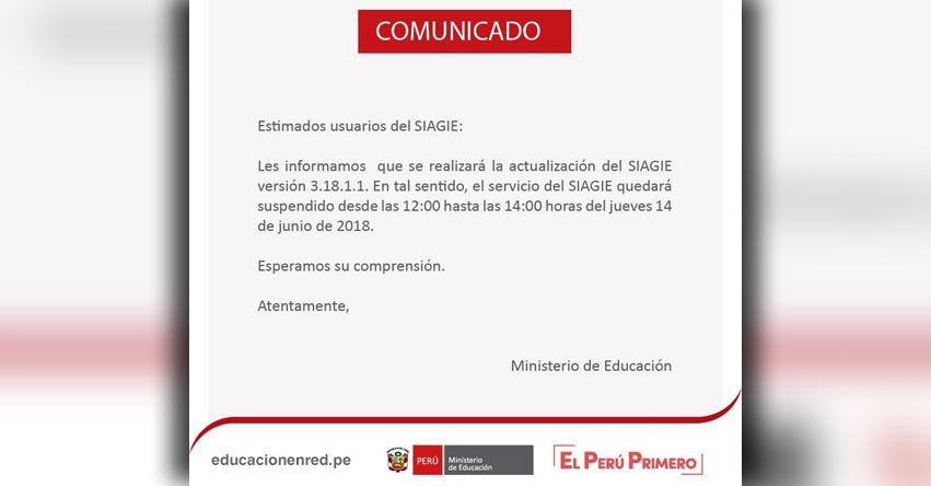 SIAGIE COMUNICADO: Suspensión del Servicio Jueves 14 de Junio - MINEDU - www.siagie.minedu.gob.pe