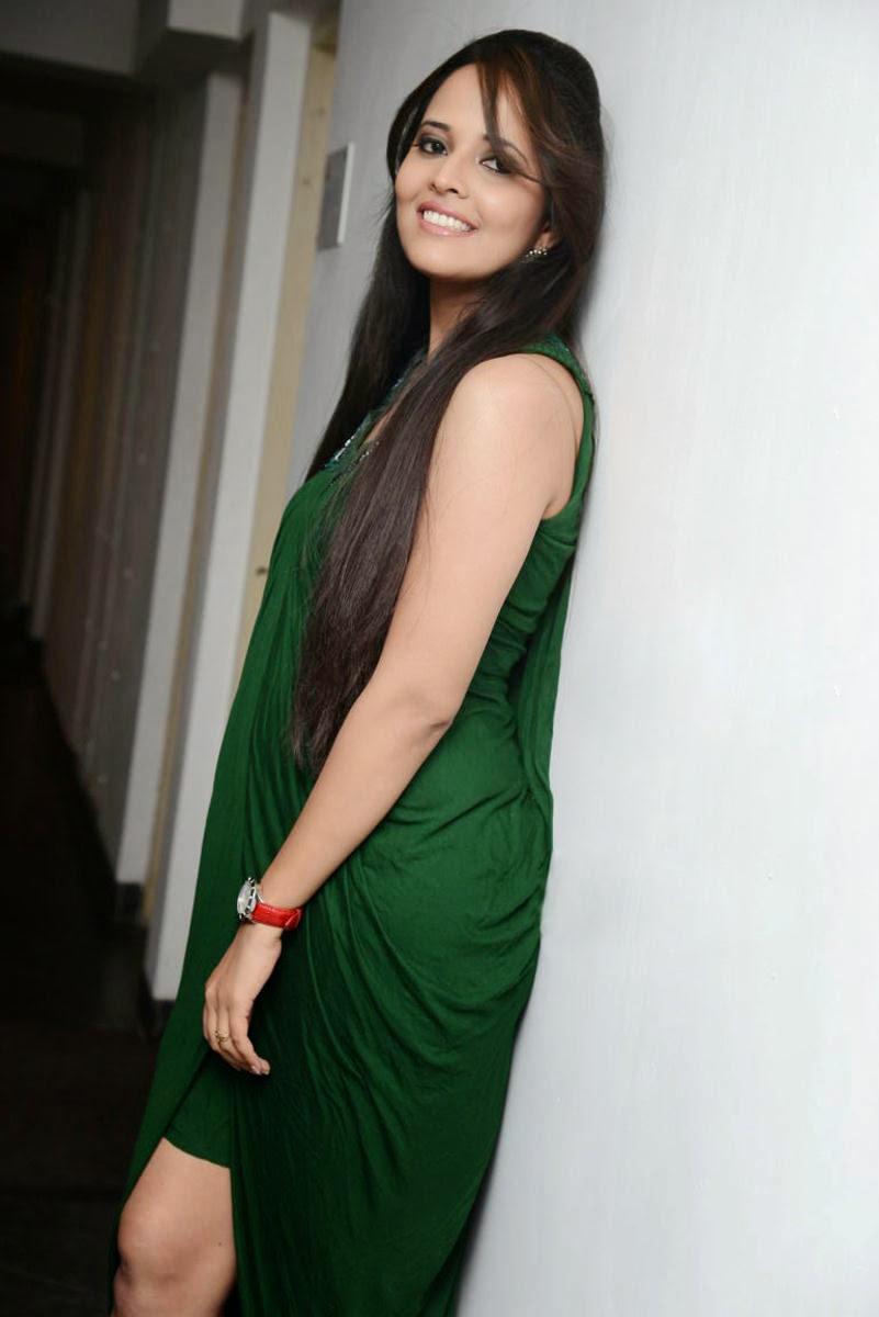 Anasuya Anchor Hot Green Dress Photoshoot