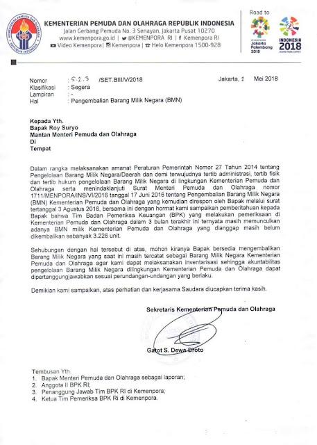 Beredar Surat Kemenpora Minta Roy Suryo Kembalikan Aset Negara, Netizen Heboh!