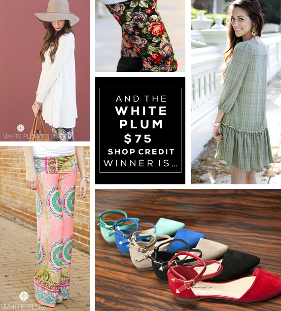 White Plum $75 Shop Credit Giveaway Winner!
