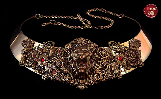 necklace cersei lannister lion bronze torc medieval renaissance jewelry collier lion game of thrones reine westeros hear me roar torque bijoux medievaux