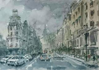 Acuarela de Carlos Puente Ortega.La Gran Via de Madrid.