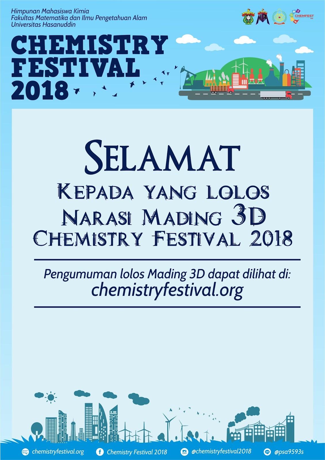 Pengumuman Mading 3D Chemistry Festival 2018