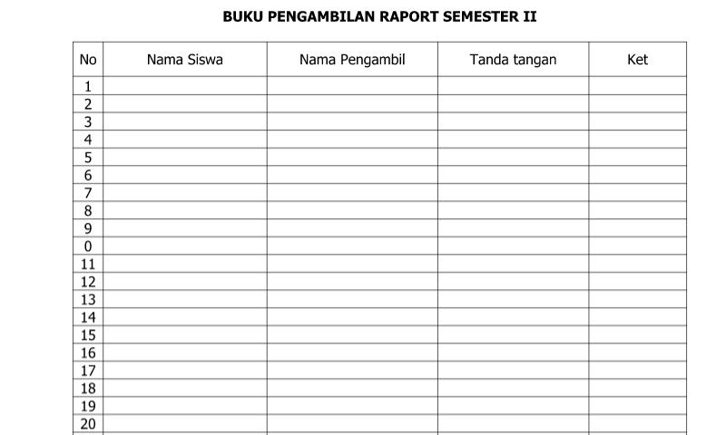 Download Contoh Format Buku Pengambilan Raport Semester II untukAdministrasi Guru SD/MI-SMP/MTs-SMA/SMK/MA