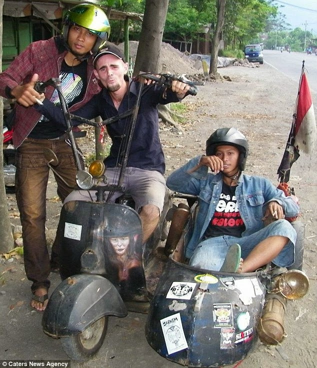 Jeremy Marie in Indonesia - where he met his girlfriend. - A Big Thumbs Up. Traveller Hitchhikes 100,000 Miles Around The World Without Spending Any Money
